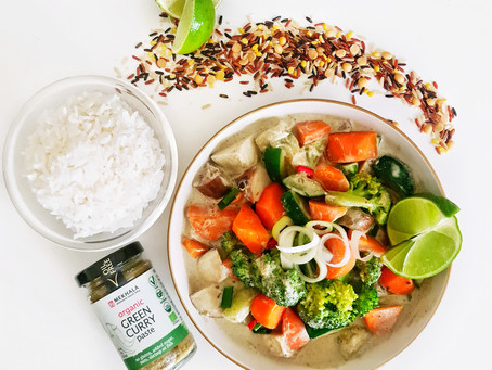 Vegan Thai Green Curry from Leftover Roasted Vegetables