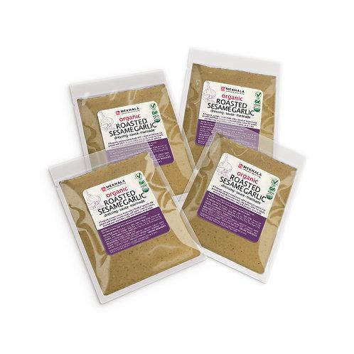 Organic Roasted Sesame Garlic Dressing/Sauce/Marinade 4-Sachet Pack