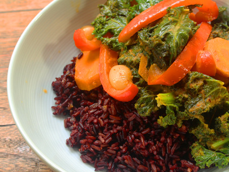 Butter Bean and Kale Thai Red Curry-Black Rice Bowl
