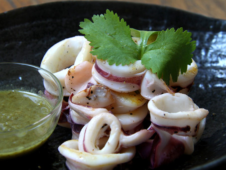 Grilled Squid With Coriander Ginger Dipping Sauce