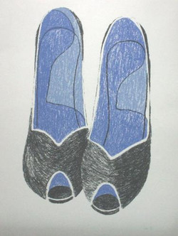 black & blue high heels