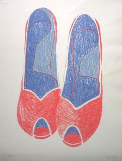 red & blue high heels