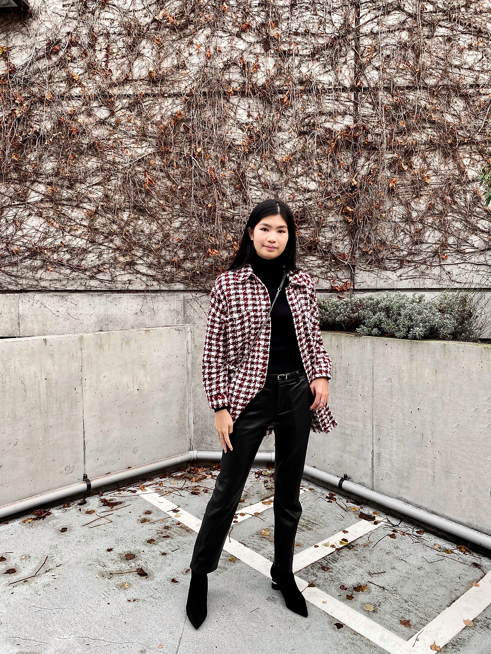 OOTD styling the Zara black leather straight leg pants with a black turtleneck and red houndstooth shacket