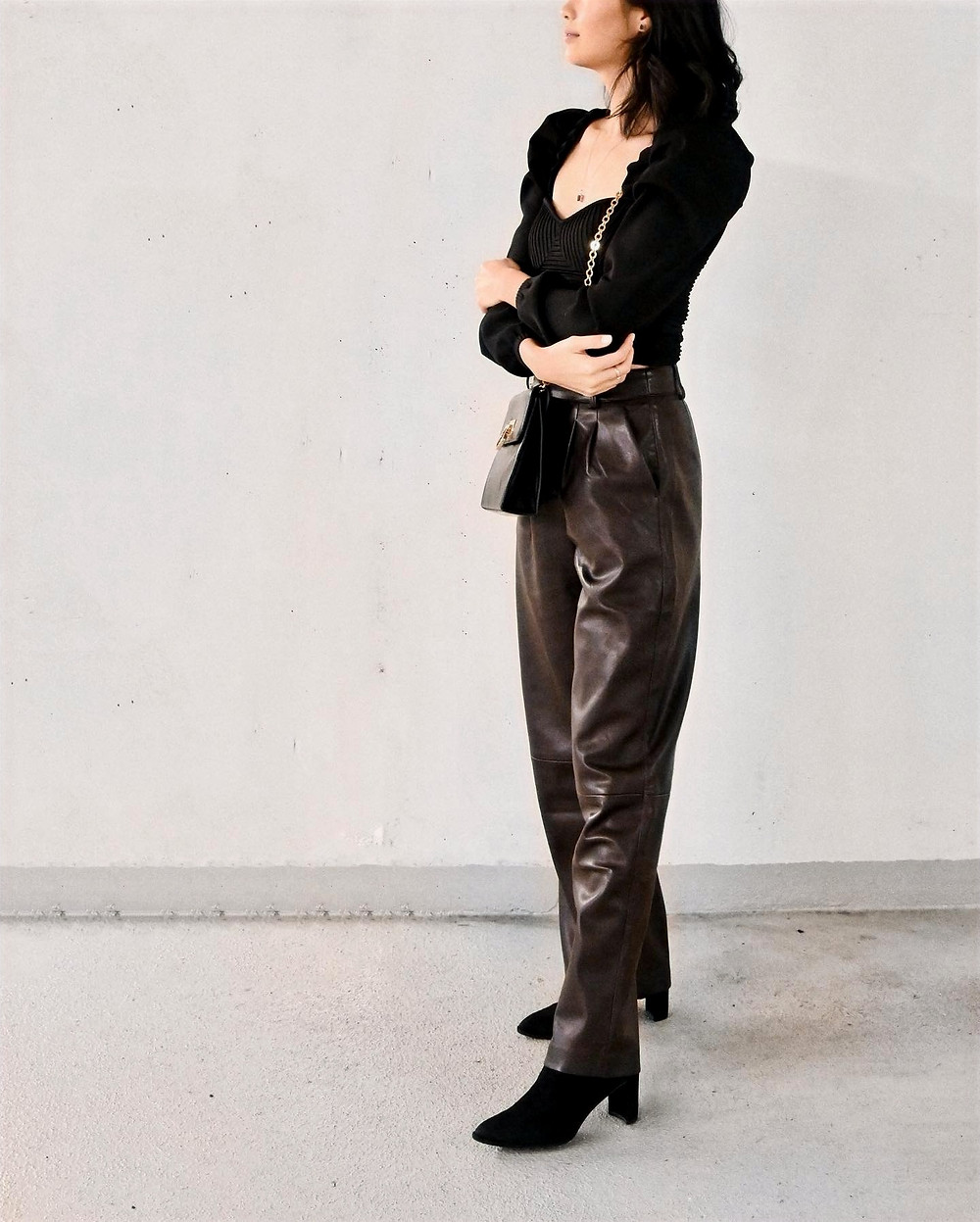 OOTD styling with dark brown straight leg leather pants