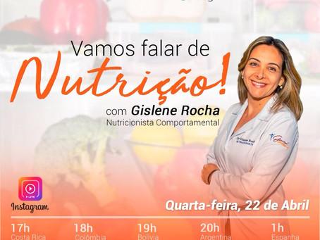Nutricionista Gislene Rocha participa de live em parceria com os Seminários Insight