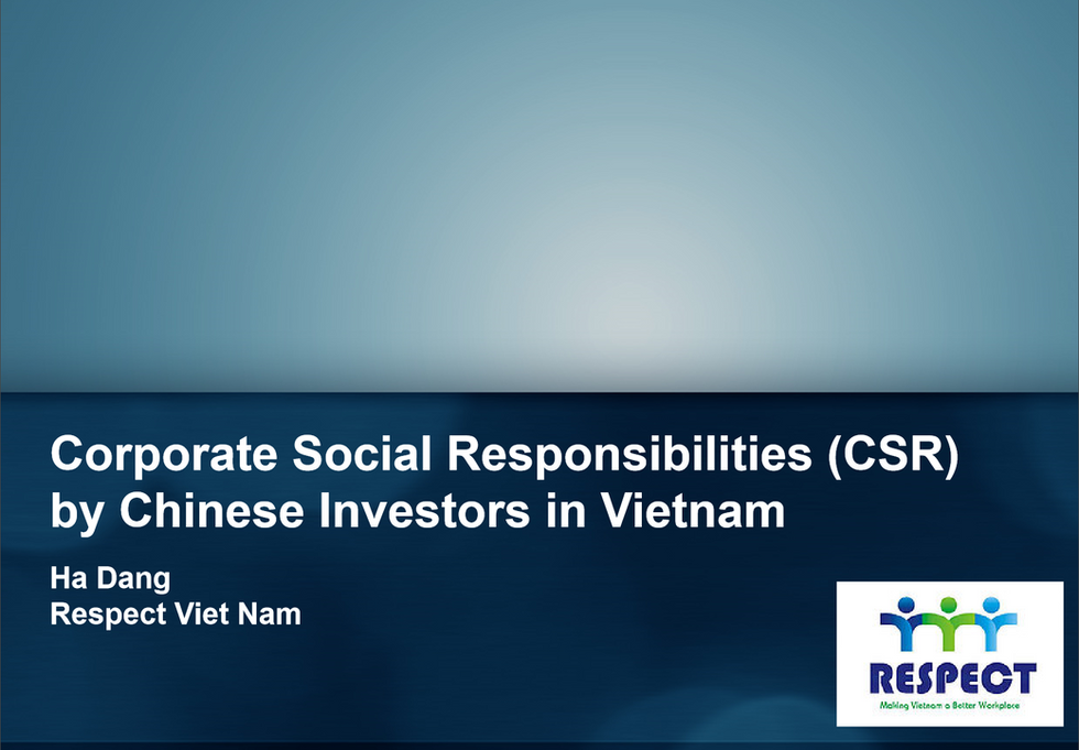 Corporate Social Responsibility (CSR) by Chinese Investors in Vietnam