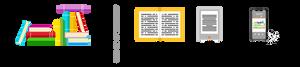 """Fyra små bilder med text under. En hög med böcker med texten: """"Totalt 77 lästa böcker"""". En öppen bok med texten: """"34 böcker"""". En e-boksläsare med texten: """"13 e-böcker"""". En telefon som spelar en ljudbok med texten: """"30 ljudböcker""""."""