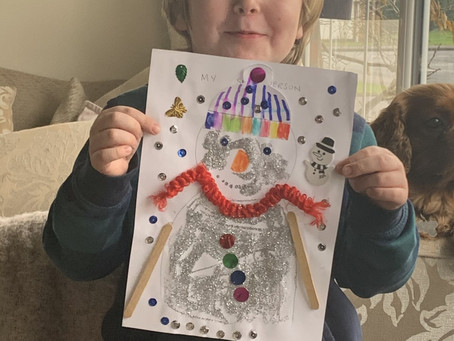 Oliver's sparkly snowman!