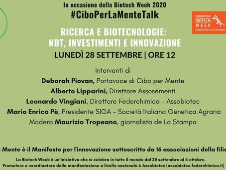 Biotech Week 2020, Cibo per la mente: riprendere al più presto la ricerca in campo
