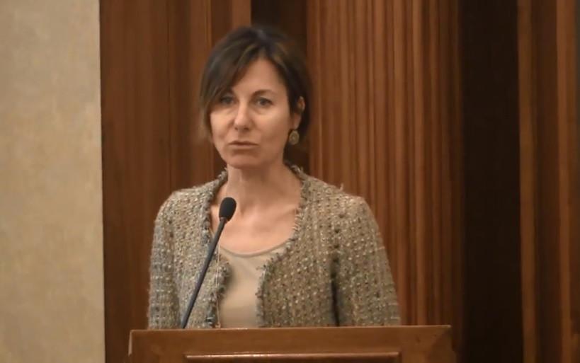 Deborah Piovan, portavoce Cibo per la Mente, nella Sala Capitolare del Senato