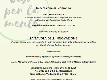 La TAVOLA DELL'INNOVAZIONE va a Ecomondo