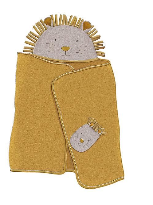 Hooded towel + mitt set Sous mon baobab