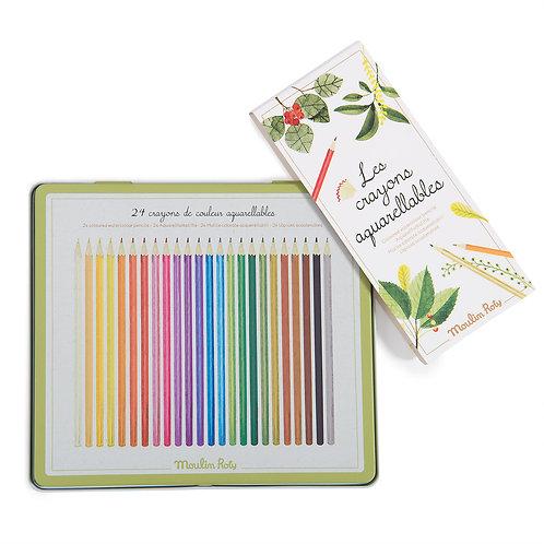24 coloured watercolour pencils