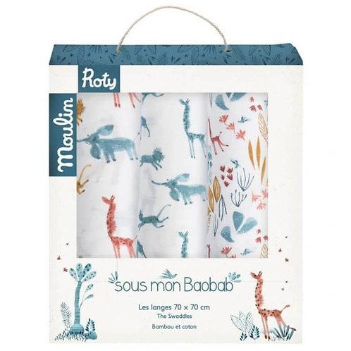 Set of 3 muslin squares (blue/giraffe/animals)