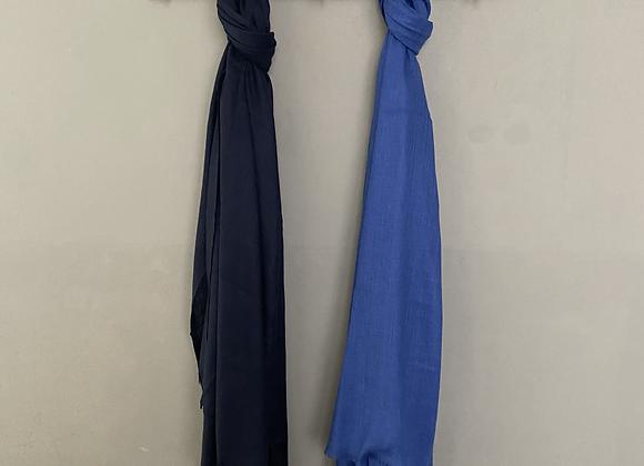 Blue Silk Linen Blend Scarf