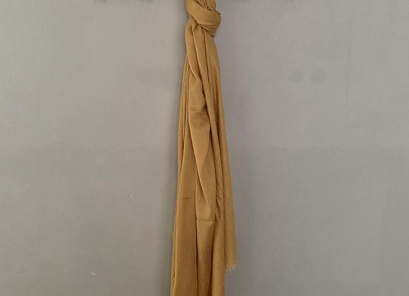Mustard Silk Linen Blend Scarf