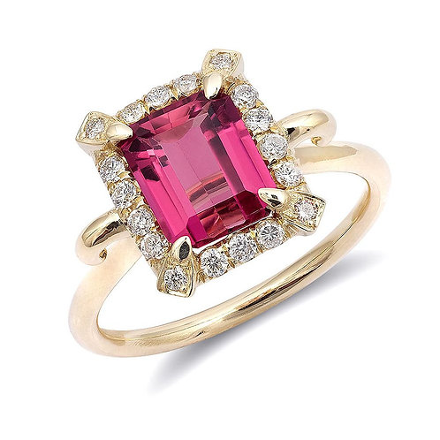 14k Yellow Gold 1.84ct TGW Natural Pink Tourmaline Diamond Engagement Ring