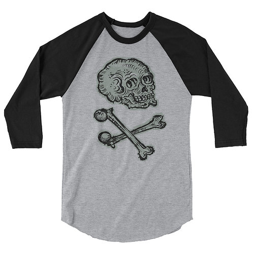 Skull and Crossbones 3/4 sleeve raglan shirt
