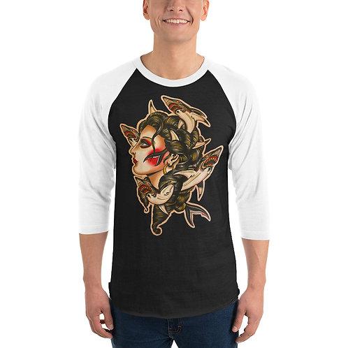 """""""Shark Salad"""" 3/4 sleeve raglan shirt"""