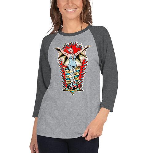 """Bat Lady"" 3/4 sleeve unisex raglan shirt"