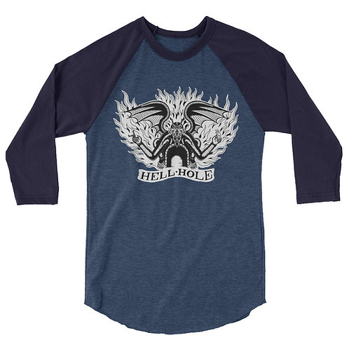 """Hellhole"" 3/4 sleeve raglan shirt"