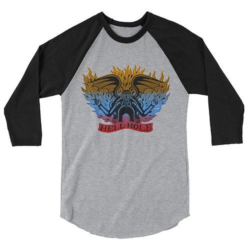 """Hell Hole"" color gradient - 3/4 sleeve raglan shirt"