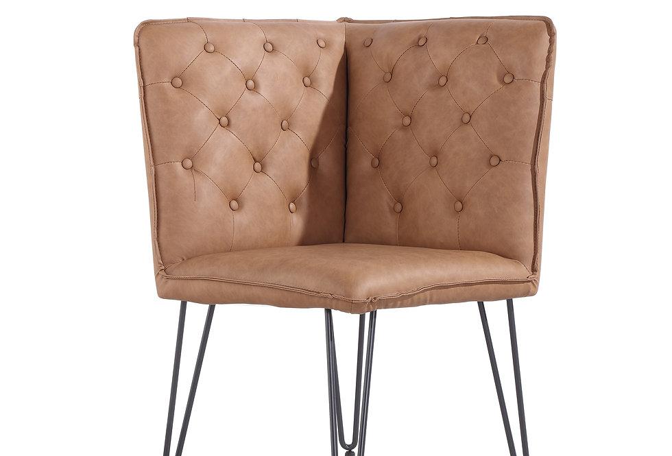 Studded Back Corner Bench -Tan