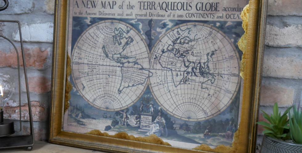 World Map in Gold Frame