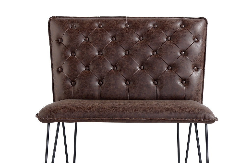 90cm Studded Back Bench - Brown