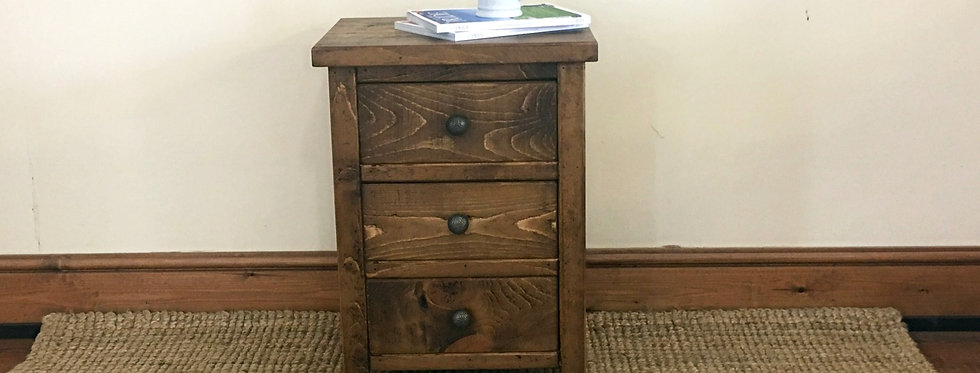 Plank 3 Drawer Bedside
