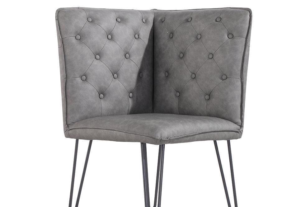 Studded Back Corner Bench - Grey