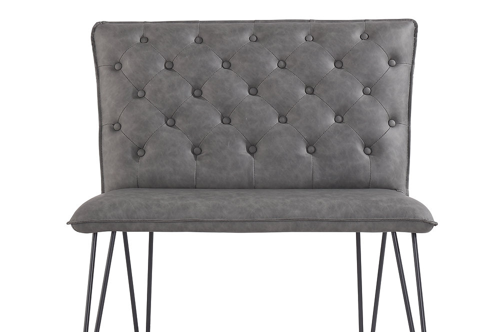 90cm Studded Back Bench - Grey