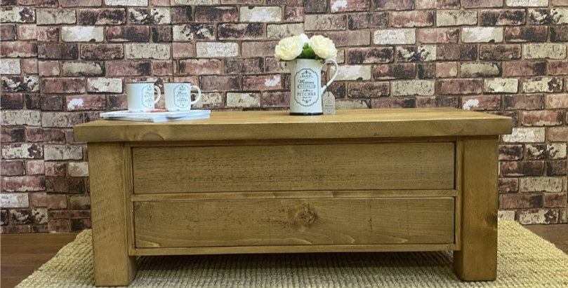 Plank Coffee Table with push through Drawers