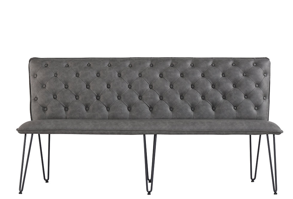 1.8m Studded Back Bench - Grey