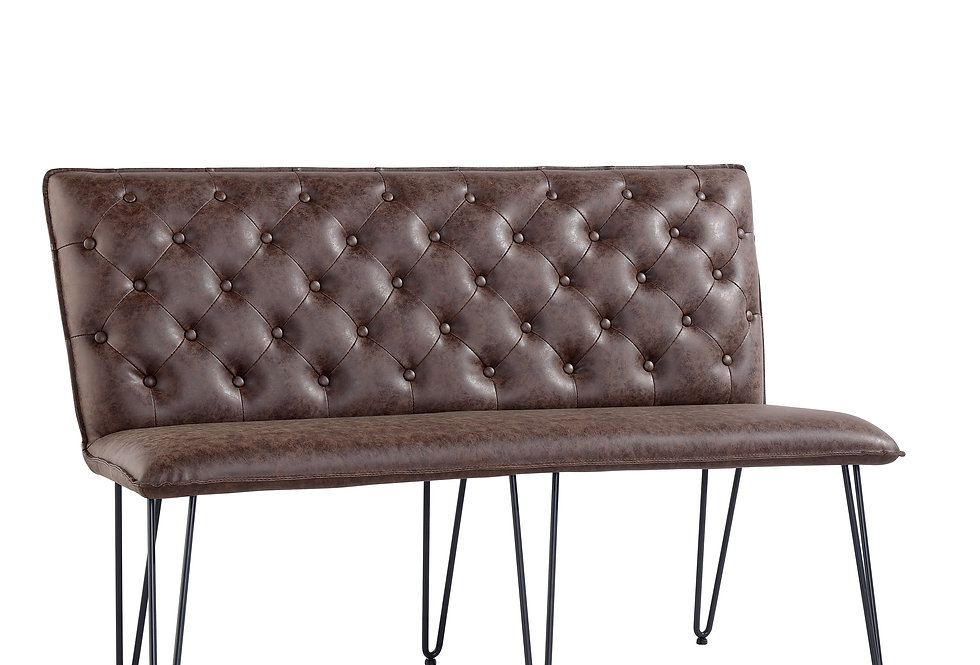 1.4 Studded Back Bench - Brown