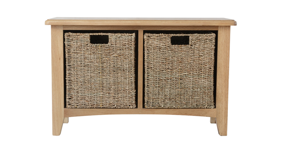 Geo Oak Hall Bench with 2 Baskets