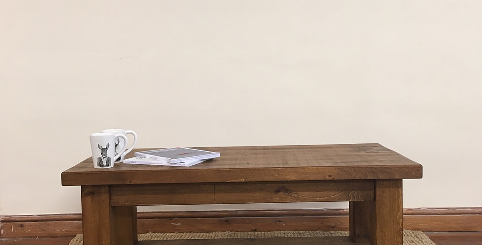Plank 2ft x 2ft Coffee Table with Shelf