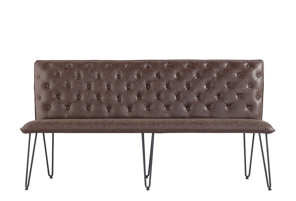 1.8m Studded Back Bench - Brown