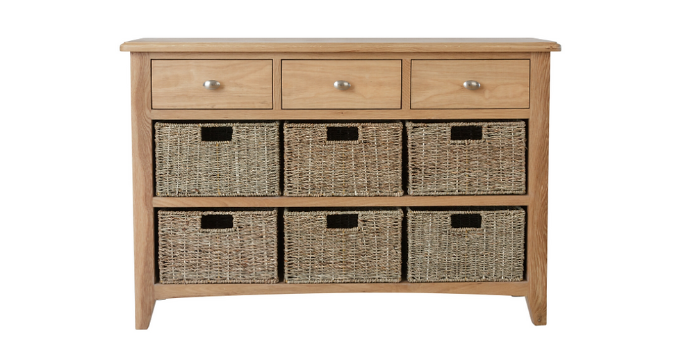 Geo Oak 3 Drawer/6 Basket Unit