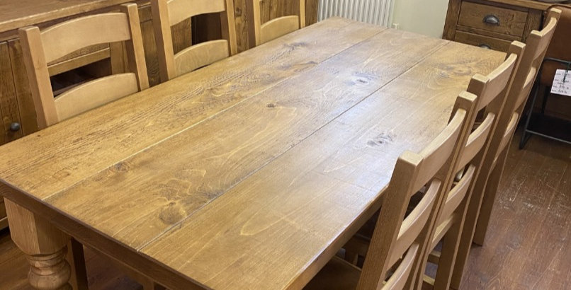 Plank Spindle Table & 6x Chairs