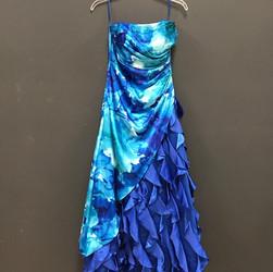 Ruffled Ballroom Gown - Blue