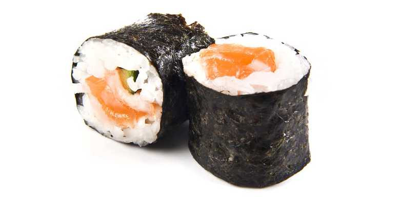 Healthy eating habits: a photo of 2 pieces of sushi