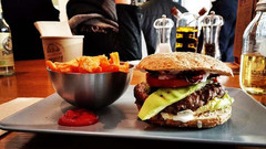 healthy cheat meal: a photo of a burger with french fries