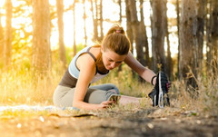 healthy lifestyle exercise: a photo of a woman doing some stretching