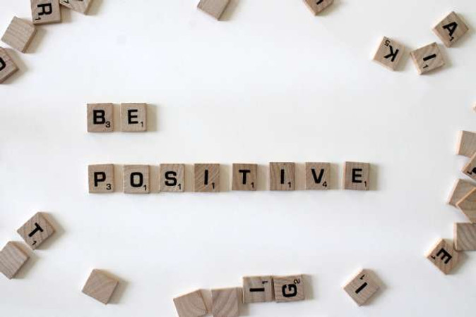 "Healthy Habits Quotes: a photo of a motivational message that says ""be Positive"""