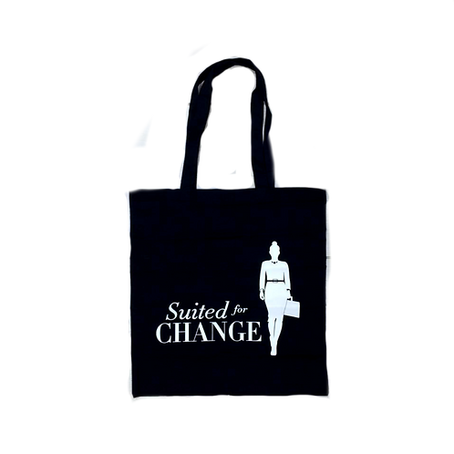 Suited for Change Black & White Canvas Tote Bag