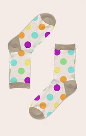 White socks with polka dots