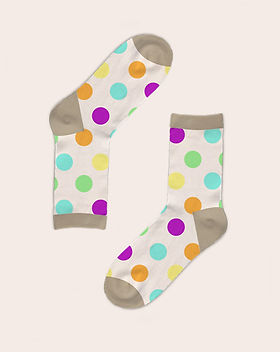 White socks with polka dots