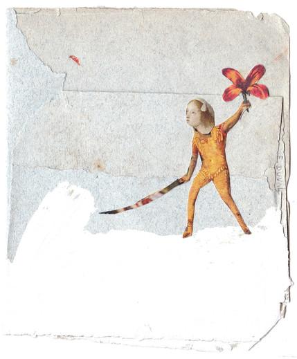 Technique: mixte (peinture, collage, dessin) Format de l'œuvre: 9,2 x 11 cm