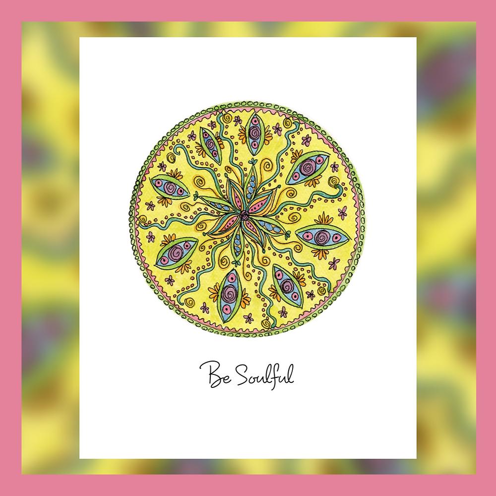 Be soulful yellow floral mandala